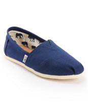 Toms Classics Canvas Navy Slip-On Girls Shoe