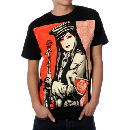 Obey Peace Guard Black Tee Shirt