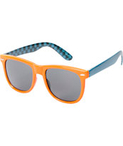 Jack Martin Frisky Business Orange & Cyan Checkerboard Sunglasses