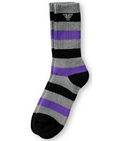 Fallen Shoes Striped Purple, Grey & Black Crew Socks