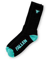 Fallen Shoes Trademark Black & Turquoise Socks