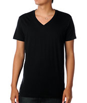 Zine V-Neck Black Tee Shirt