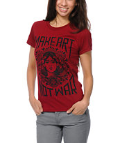 Obey Girls Make Art Not War Berry Tee Shirt