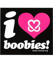 Keep A Breast Foundation I Love Boobies Black Sticker
