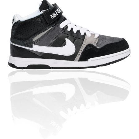 Nike 6.0 Boys Mogan Mid 2 Jr. Black, White & Grey Shoe