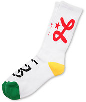 LRG White Rasta Jump Off Crew Socks