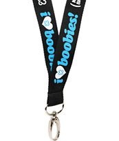 Keep A Breast Foundation I Love Boobies Black & Turquoise Lanyard