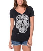 Obey Day Of The Dead Glow In The Dark Charcoal Tee Shirt
