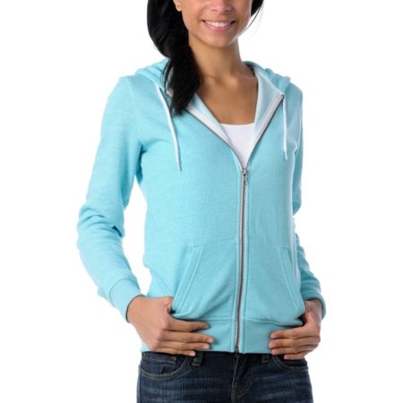 Zine Girls Aqua Salt & Pepper Zip Up Hoodie