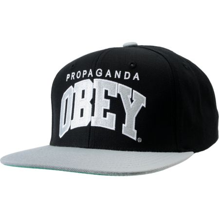 Obey Throwback Black & Silver Snapback Hat