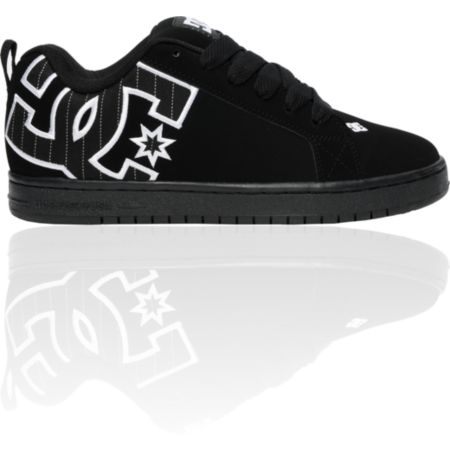 DC Court Graffik SE Black & White Pin-Striped Shoe