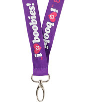 Keep A Breast Foundation I Love Boobies Purple Lanyard
