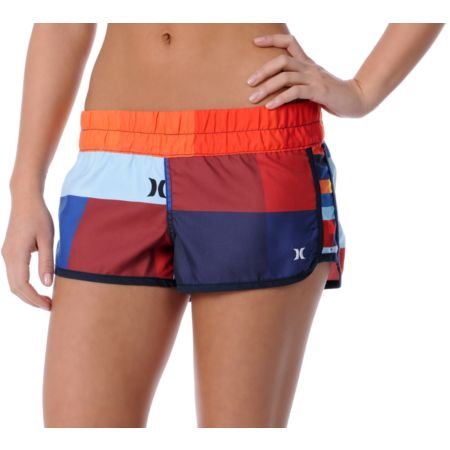 Hurley Girls Red Geo Super Suede Beachrider Board Shorts