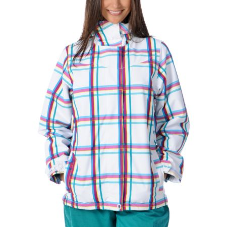 Empyre Girls 2012 Liberty White & Pink Plaid 10K Snowboard Jacket