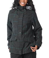 Empyre Girls Glendale 2012 Grey Plaid 10K Fur Hood Snowboard Jacket