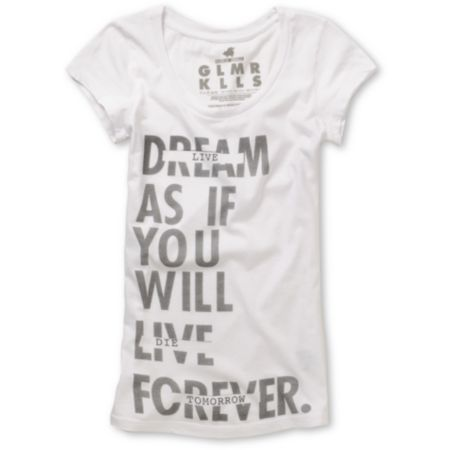 Glamour Kills Girls Live Forever Tomorrow Scoop-Neck Tee Shirt