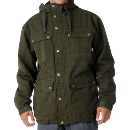 Aperture Gritstoned 10K Olive Plaid 2012 Guys Snowboard Jacket