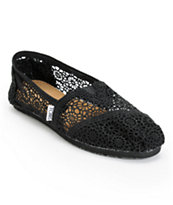Toms Classics Black Crochet Girls Slip On Shoe