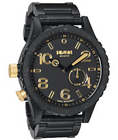 Nixon 51-30 Matte Black & Gold Watch