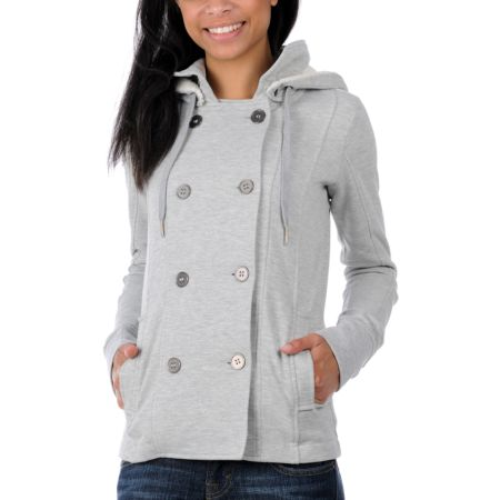 Empyre Girls Canopy Grey Pea Coat Sweatshirt Jacket