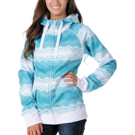 Empyre Girls Canyon Teal Stripe 2012 Zip Tech Fleece Jacket