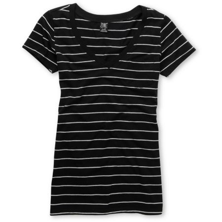 Zine Girls Striped Black & Grey V-Neck Tee Shirt