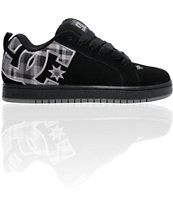 DC Court Graffik Black & Grey Plaid Skate Shoe