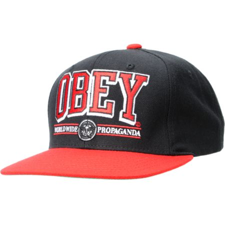 Obey Athletics Black & Red Snapback Hat