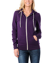 Zine Girls Solid Purple Zip Up Hoodie
