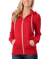 Zine Girls Solid Red Zip Up Hoodie