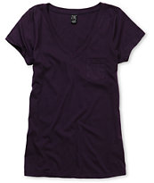 Zine Girls Pennant Purple V-Neck Tee Shirt
