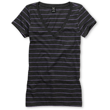 Zine Girls Striped Charcoal & Light Purple V-Neck Tee Shirt at Zumiez : PDP