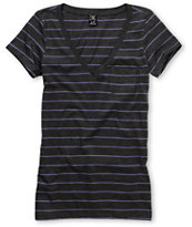 Zine Girls Striped Charcoal & Light Purple V-Neck Tee Shirt