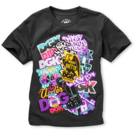 DGK Boys Sticker Pack Charcoal Tee Shirt