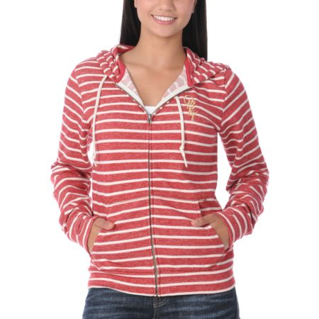 Obey High Fashion Red & Cream Stripe Girls Zip Up Hoodie