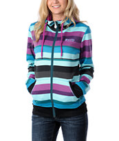 Volcom Women's Enlighten 2012 Tech Fleece Stripe Zip-up Hoodie