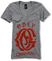 Obey Girls Original Deep V-Neck Tee Shirt