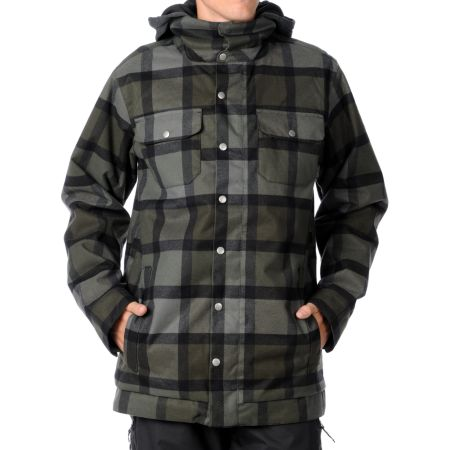 Burton Hackett 2012 Black Plaid 10K Guys Snowboard Jacket