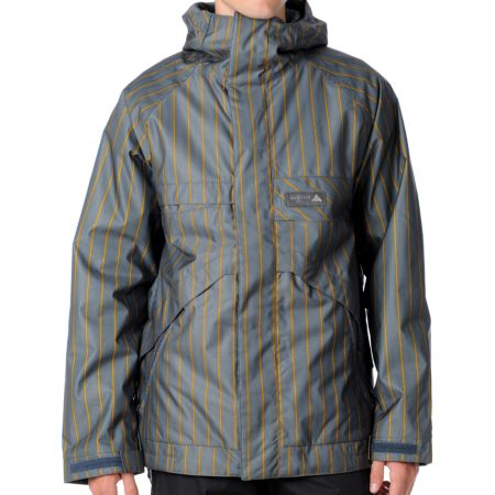 Burton Poacher 2012 Grey Stripe 10K Snowboard Jacket