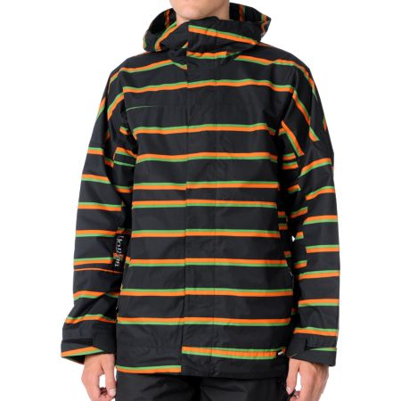 Burton Launch 2012 Black Striped 10K Guys Snowboard Jacket