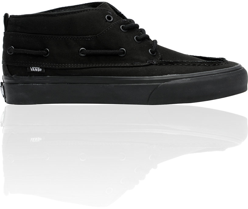 vans chukka barco all black canvas boat shoes boot new