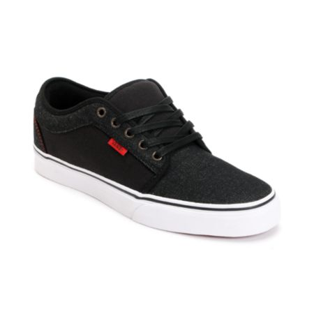 Vans Chukka Low Black Denim & Red Skate Shoe