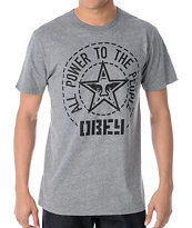 Obey Peoples Seal Heather Grey Tee Shirt