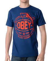 Obey Cant Jump Blue Tee Shirt