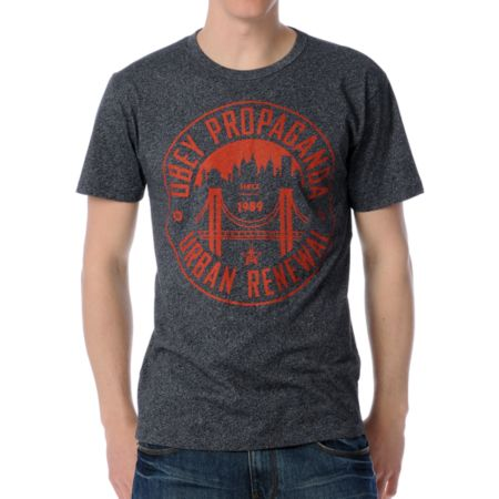 Obey Urban Renewal Charcoal & Orange Tee Shirt