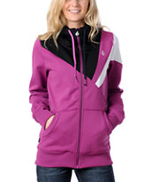 Volcom Women's Gallo 2011 Tech Fleece Purple & Black Zip-up Hoodie