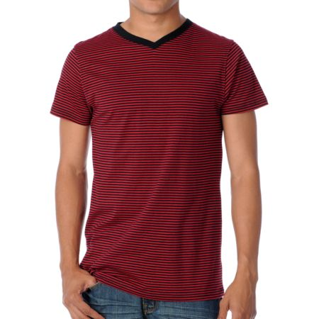 Empyre Chanced Red Stripe V-Neck Tee Shirt