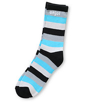 Enjoi Full Stripe Black & Blue Crew Socks