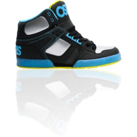 Osiris NYC 83 Black, Gun, & Cyan High Top Shoe