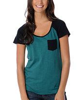 Empyre Girl Bayberry Green Raglan Cap Sleeve Baseball Tee Shirt